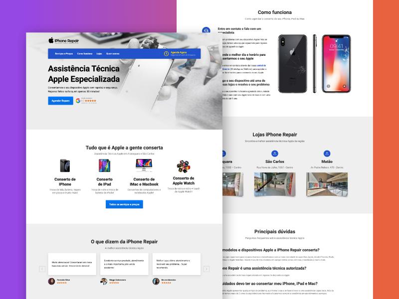 Criação de site para assistência técnica especializada Apple com design exclusivo.